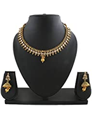 Anuradha Art Golden Finish Styled With White Colour Stone Traditional Necklace Set For Women/Girls