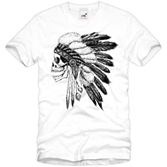 style3 Biker Indian Skull Homme T-Shirt Crâne moto motocycle tattoo tatouage, Taille:S;Couleur:Blanc