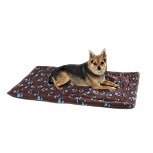 Slumber Pet Pawprint Dog Crate Mat, Medium/Large, Chocolate