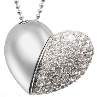Euroge Tech 8 GB Argento Cuore Crystal Diamond