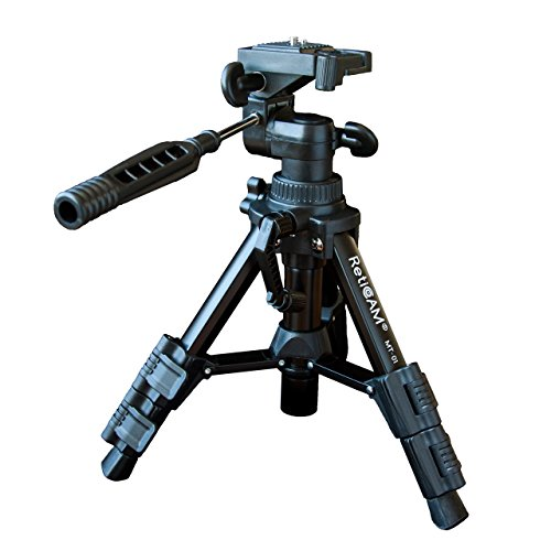 RetiCAM Tabletop Tripod with 3-Way Pan/Tilt Head, Quick Release Plate & Carrying Bag - MT01, Aluminum, Black