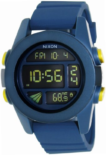 Nixon A1971264 Unit Digital Dial Steel Blue Silicone Strap Unisex Watch New