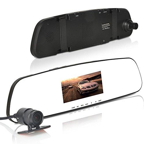Tprance® D50 Ambarella A7 Backup Camera Mirror Front And Waterproof Rear View High-Dynamic Range Wdr Night Vision G-Sensor Motion Detection 8G
