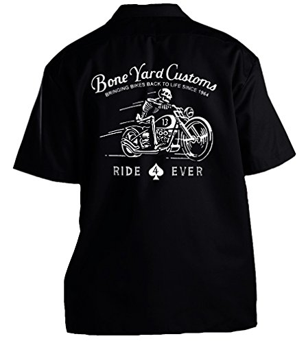 GearHead Alley Motorcycle Bone Yard Customs Work Shirt Large Black