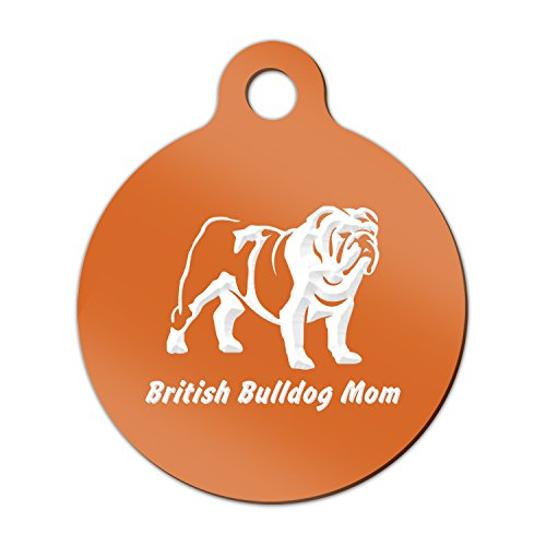 British Bulldog Mom Engraved Keychain / Round Tag with Tab Mister Petlife english Orange (Bulldog Mom Keychain compare prices)