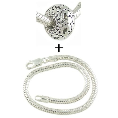 Sterling Decorated European Bead PLUS 925 Sterling Silver Snake Charm Bracelet