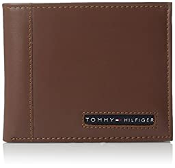Tommy Hilfiger Men\'s Leather Cambridge Passcase Wallet with Removable Card Case, Tan, One Size