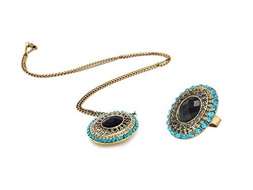 niceEshop (TM) ragazza retrò principessa bronzo ellittica cristallo collana e anello, rame, colore: Bronze