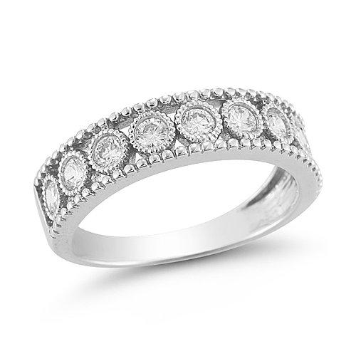 10k White Gold Diamond Ring (1/2 cttw I J Color, I2 I3 Clarity), Size 8