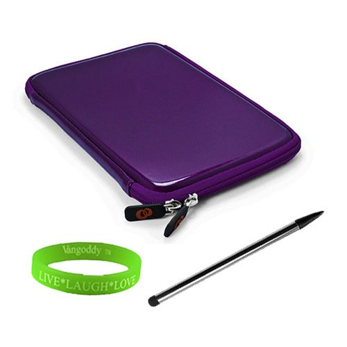 State of the Art Purple Cube Carrying Case for Coby Kyros (MID7024) + Dual-Sided Stylus Pen and Vangoddy Live*Laugh*Love Wristband