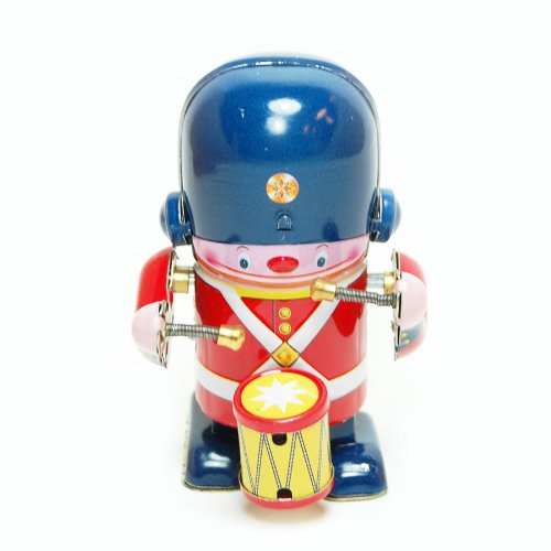 Little Soldier Marches Drummer, Metal Winds up Toy, Clockwork Tin Toy Collection, 3.3″ Tall