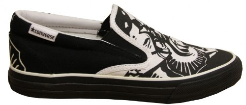 Converse Skateboard Skidgrip Ev Skulls White/ Black Slip On Shoes, Schuhgrösse:38