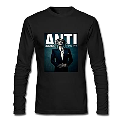 XIULUAN Men's Rihanna Travis Scott Anti World Tour 2016 Long Sleeve T-shirt