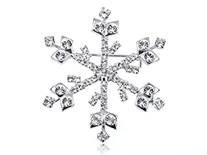 Swarovski Crystal Elements Winter Holiday Season Shimmer Snowflake Pin Brooch
