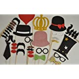 Photo Booth Props Mustache on a stick Hats Glasses Lips Deluxe kit 40 plus pieces