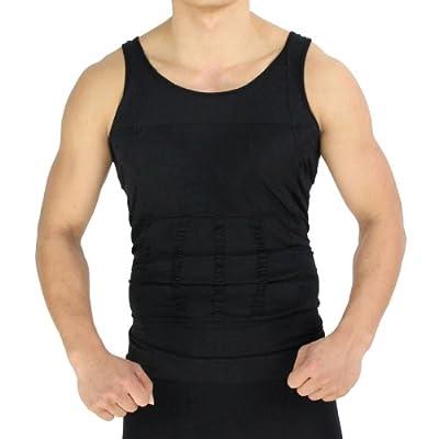 H:oter Mens Body Shaper Vest Shirt Abs Abdomen Slim, Black by KTZ