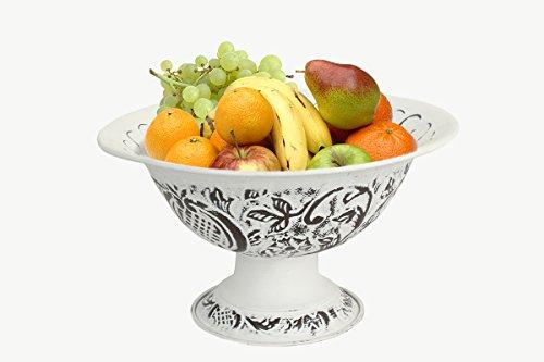 Fruit Bowl Metal Pedestal Basket with Handpainted Floral Motifs (Centerpiece Pedestal Bowl compare prices)