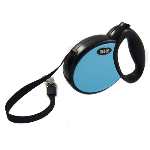 Alfie Couture Designer Pet Accessory - Presley Retractable Dog Leash - Color: Blue, Size: Medium - 10 Feet