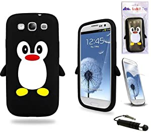 Samsung Black Penguin Silicone Case Cover with Free Custom Screen Protector, WirelessGeeks247 Metallic Detachable Touch Screen Stylus Pen and Anti Dust Plug For Samsung Galaxy S3 i9300