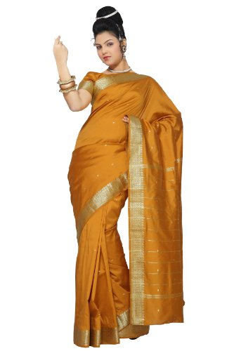 Mustard Art Silk Saree Sari fabric India Golden