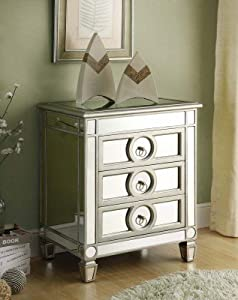 Monarch Specialties I 3701 Mirrored 3 Drawer Accent Table