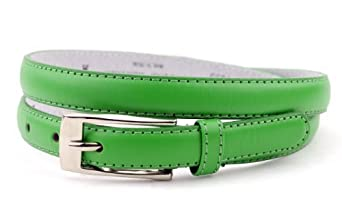 """New Classy Womens Skinny Leather Belt with Shiny Buckle Many Colors S-XL (L (37""""-41""""), Black)"""