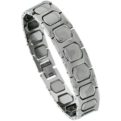 Sabrina Silver Tungsten Gun Metal H & Cushion Link Bracelet, 1/2 in. (13mm) wide (BTN132)