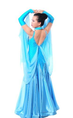 Colorfulworldstore Maßgeschneidertes Frauen-Turnierkleid Modern-Dance, Walzer und Tango-Langes Blumen besetztes Organzakleid mit Trägern (XXL/175cm Höhe, Himmelblau)