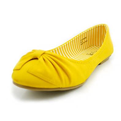 Alexis Leroy Women's Bright Color Casual Flats Shoes Yellow Size8.5