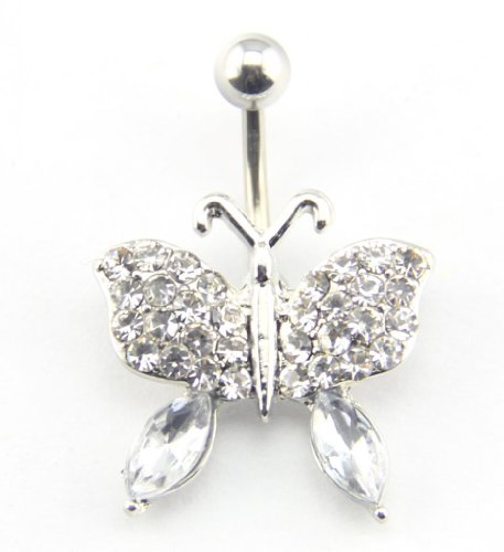 Baqi 14G Jeweled Clear Rhinestones Butterfly Belly Button Navel Ring Bar Dazzing Clear