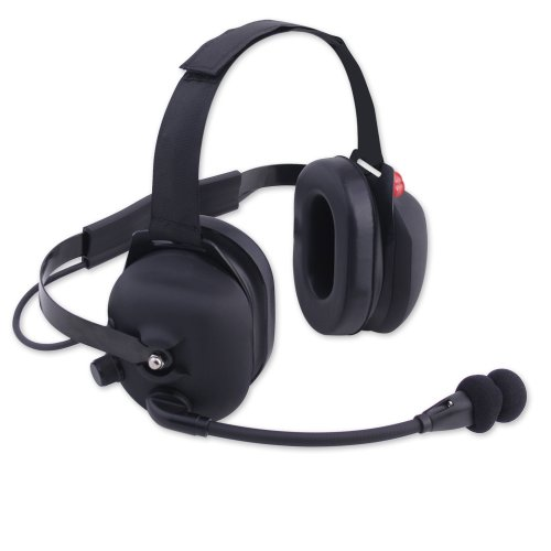 H43 Black Rubber Coated Racing Radios Electronics 2 Way Headset Nascar Crew Chief Bth