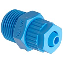 Tefen Fiberglass Polypropylene Compression Tube Fitting, Adapter, Blue, Tube OD x BSPT Male, Metric