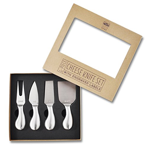 Jetty Home Cheese Knives with Engraved Labels Gift Set (4 pcs)