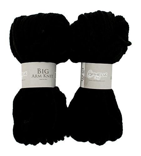 Ophelia Italy BigArmKnit017 - Filo in lana spesso, 70% in acrilico 30% lana vergine, confezione 2 x 100 G, Nero