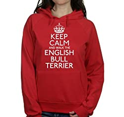 Keep calm and walk the English bull terrier womens hooded top pet dog gift ladies Red hoodie white print