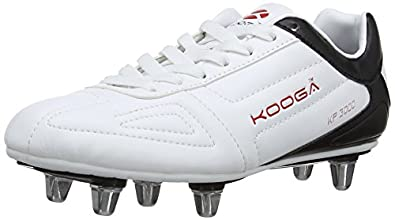 Kooga Unisex-Child KP 3000 Junior LCST Rugby Boots 31423 White/Black/Red 1 UK, 34 EU Regular