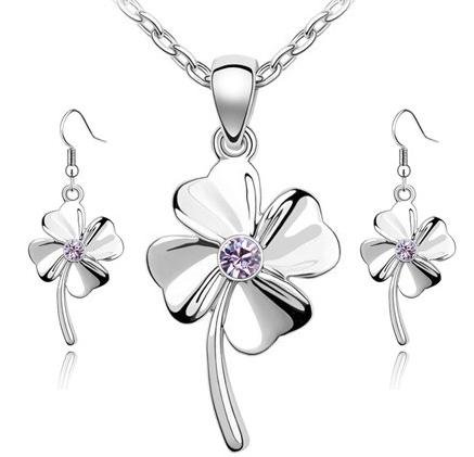 18K Gold Plated Swarovski Elements Four Leaf Clover Pendant Necklace And Earrings 3-Piece Set Jewellery-CN3402