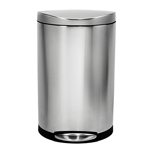 simplehuman Semi-Round Step Trash Can, Stainless Steel, 30 L / 7.9 Gal (Simplehuman Round Step Trash Can compare prices)