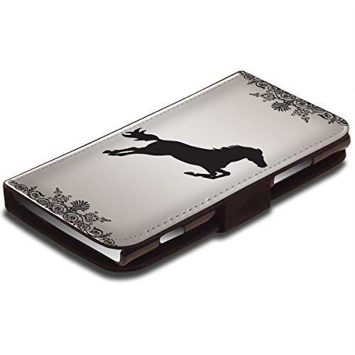 Jockey 10001, Springendes Pferd, Schwarz Leder Hülle Fall Ledertasche Handyschutzhülle Klappetui für Handy mit Magnetverschluss und Farbig Design für Nokia Lumia 920