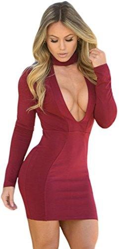 bestime-da-donna-borgogna-collo-alto-v-immersione-bodycon-mini-vestito-red-large