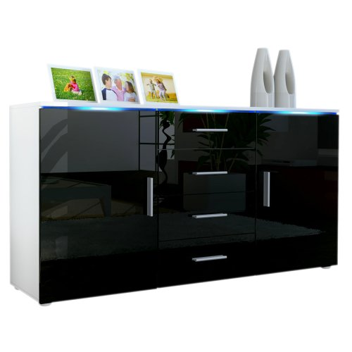 Frunty buffet meuble tv faro en blanc noir en haute for Meuble tv noir haut