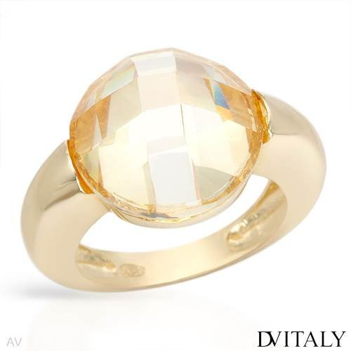 DV ITALY Stylish Cocktail Ring With Genuine Crystal Crafted in 14K/925 Gold plated Silver. Total item weight 9.1g (Size 6.5)