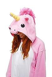 Adulte Unisexe Animal Costume Cosplay Combinaison Pyjama Outfit Nuit Fleece Halloween Unicorn (S(148-160CM), Pink) ...