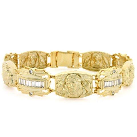 925 Silver Gold Plated Jesus Baguette CZ Mens Bracelet