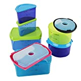 Fit & Fresh Kids Reusable Lunch Container Kit with Ice Packs, 14-Piece Set, BPA-Free