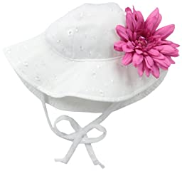Flap Happy Baby Girls\' Upf 50+ Floppy Hat with Flower, White Eyelet/Azalea Flower, Small