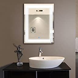 Vertical LED Lighted Vanity Bathroom Silvered Mirror, Touch Button Mirror Make up Mirror Wall-mounted Mirror, 24 Inch x 32 Inch (DK-OD-CK150) (Queen)