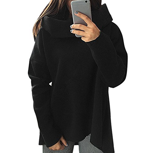 Chouette-Sweats--Capuche-Femme-Col-Haut-Manches-Longues-Casual-Style-AutomneHiver