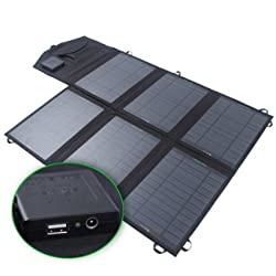 """SUNKINGDOMâ""""¢ 39W 2-Port DC USB Solar Charger with Portable Foldable Solar Panel PowermaxIQ Technology for iPhone, iPad, iPod, Samsung, Camera, and More (Black)"""