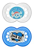 MAM Rock N Roll Silicone Pacifier, Blue, 6+ Months, 2-Count